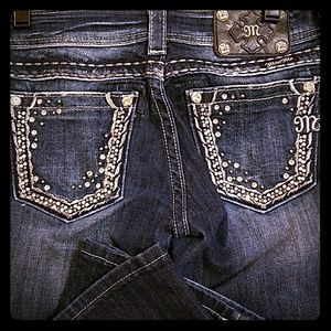 Miss Me Boot Cut Jeans with rhinestone pockets